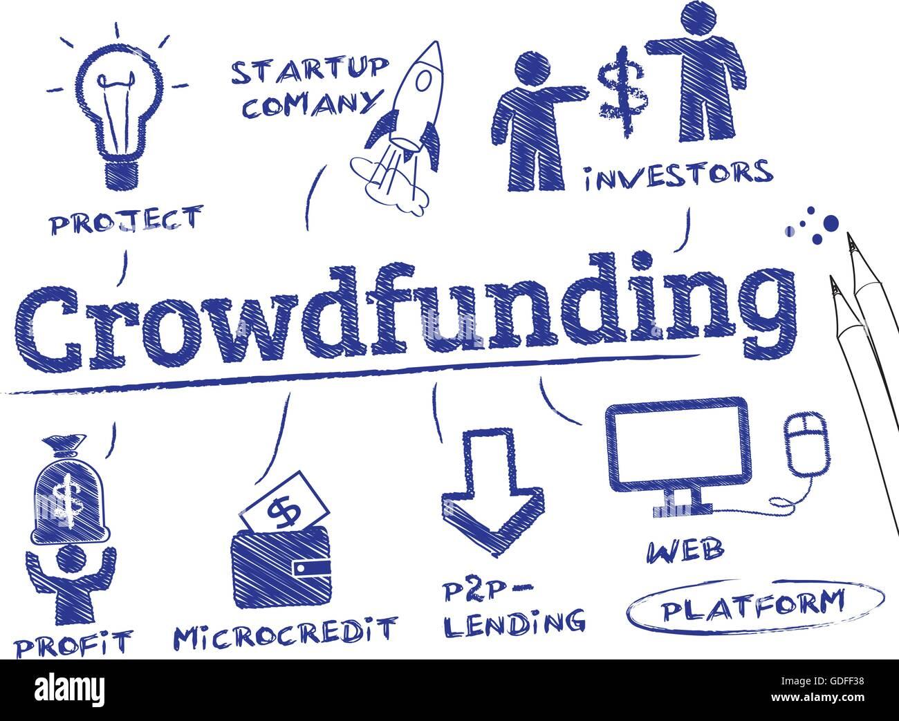 Gli investitori - concetto crowdfunding. Grafico con le parole chiave e le icone Immagini Stock