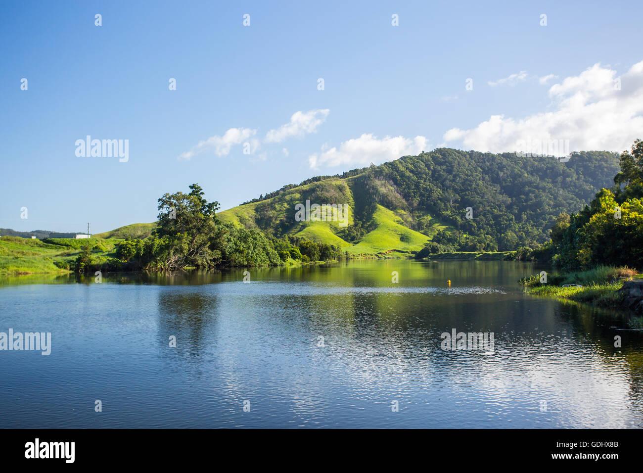 Il Fiume Daintree vicino alla città di Daintree nel lontano nth Queensland, Australia Foto Stock