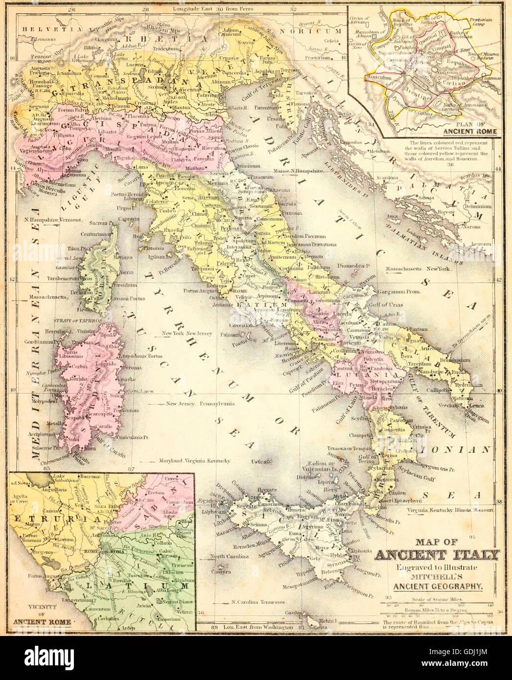 Mappa Dellitalia Antica.Mappa Dell Italia Antica Foto Stock Alamy