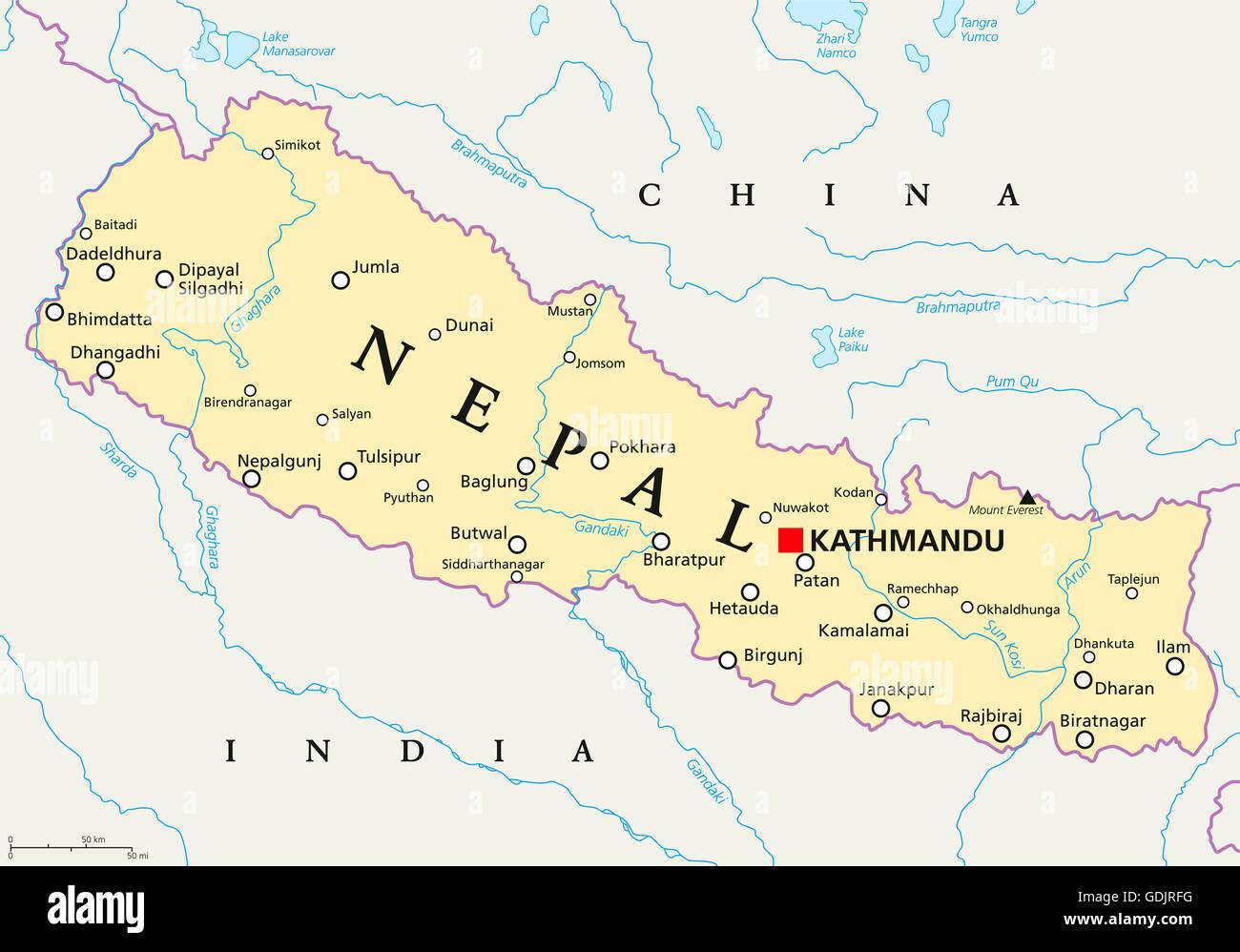 Cartina Dettagliata Del Nepal.Nepal Mappa Politico Con Capitale Kathmandu I Confini Nazionali
