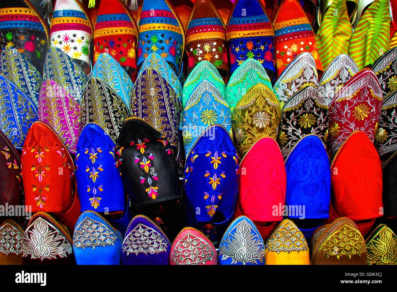 Applique scarpe artigianato marrakech marocco foto immagine