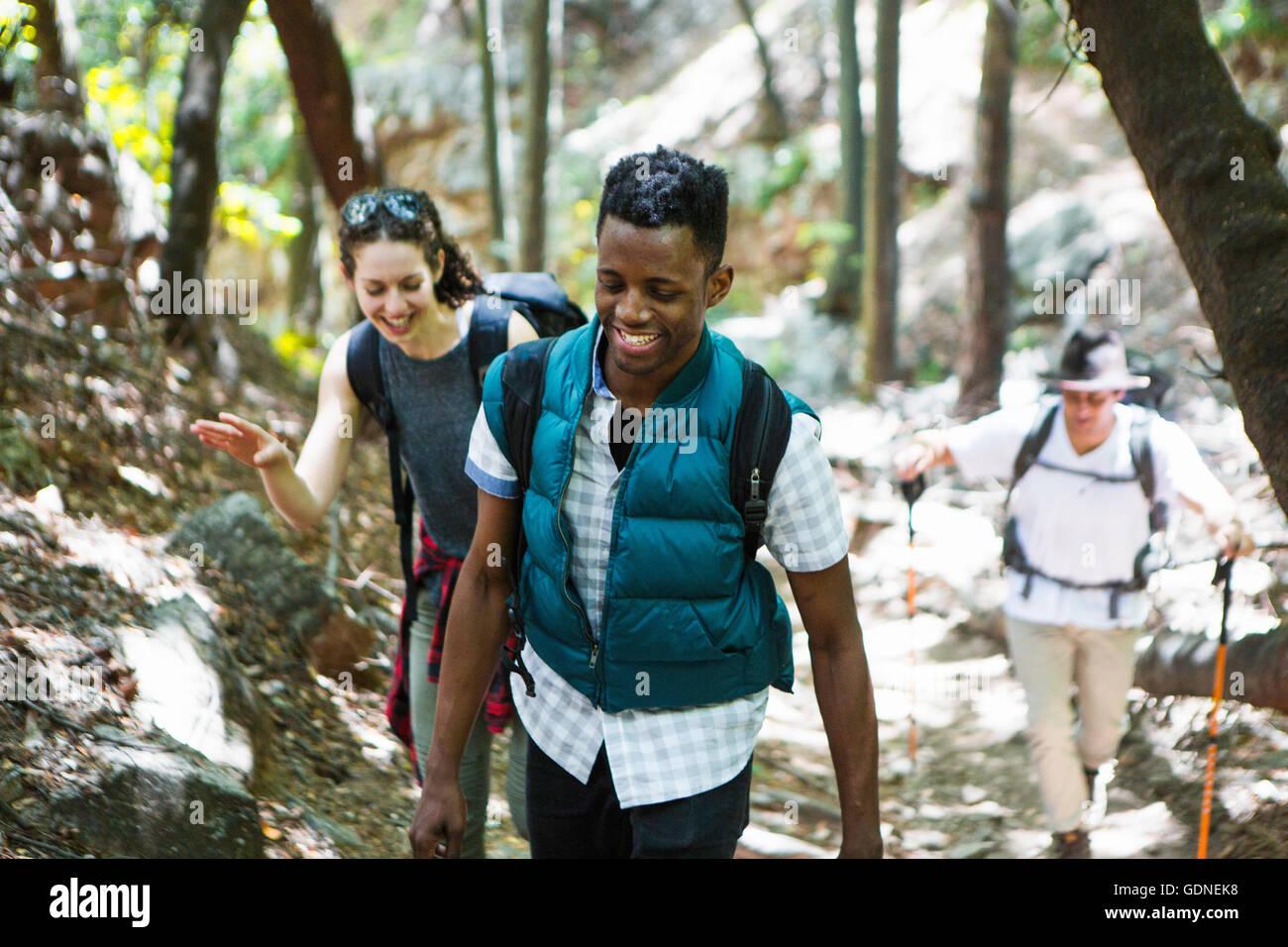 Tre giovani adulte escursionisti escursioni attraverso boschi, Arcadia, California, Stati Uniti d'America Immagini Stock