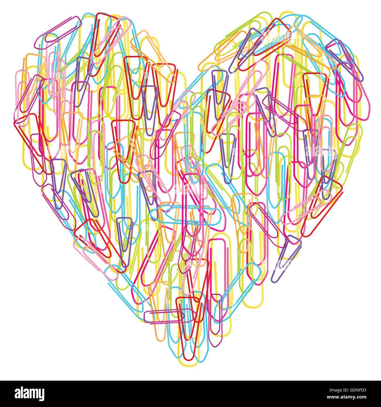 Carta colorata clip cuore vettore astratto isolato su sfondo bianco Illustrazione Vettoriale