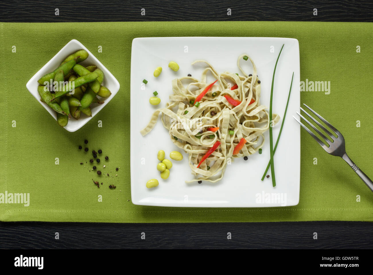 Fagioli Edamame Edamame e insalata di pasta Immagini Stock