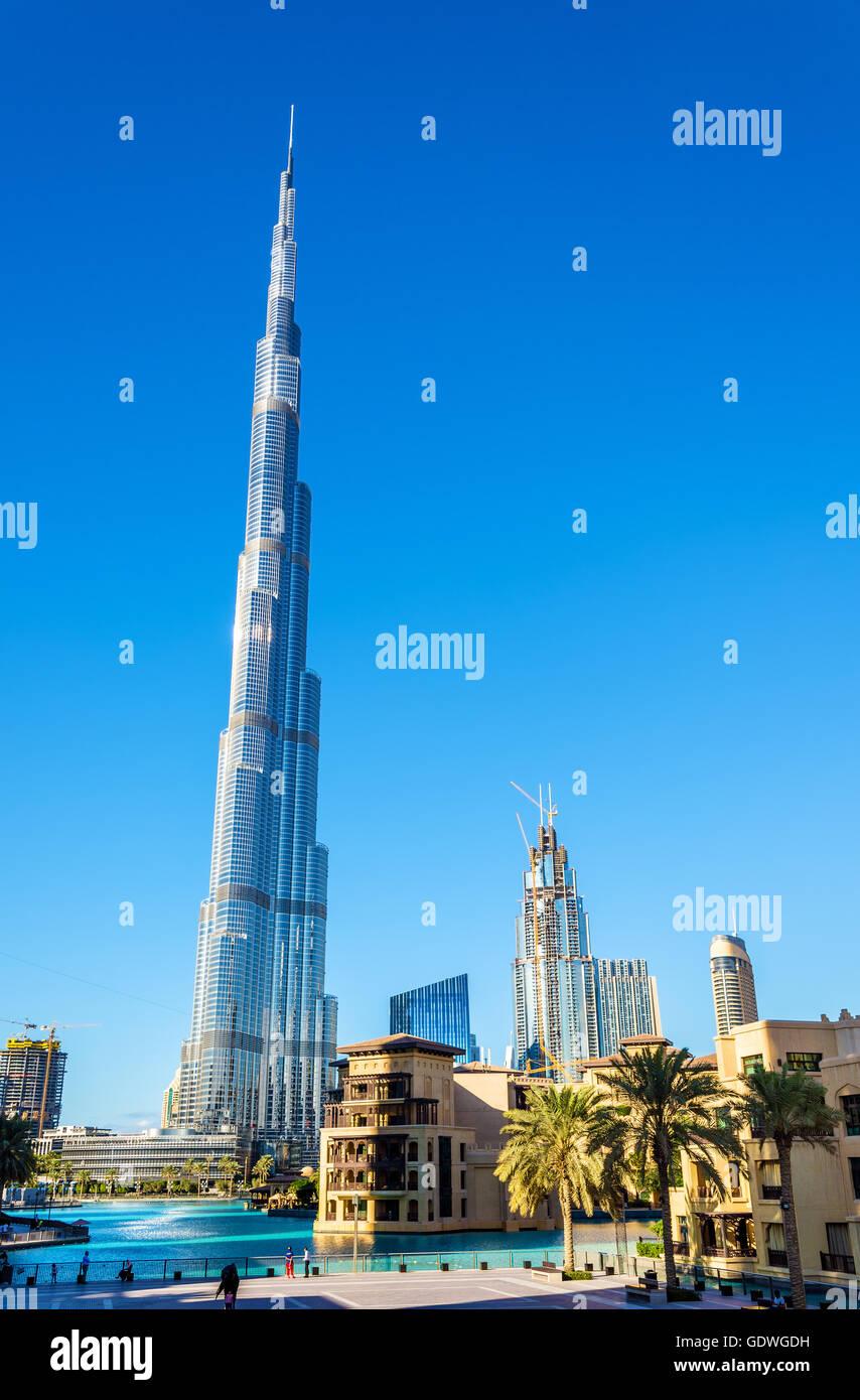 Vista del Burj Khalifa Tower a Dubai, Emirati arabi uniti Immagini Stock