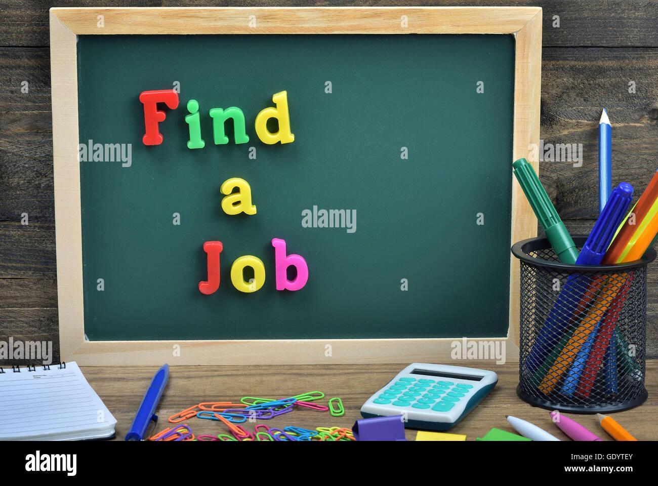 Pinna un lavoro parola sul bordo della scuola Foto Stock