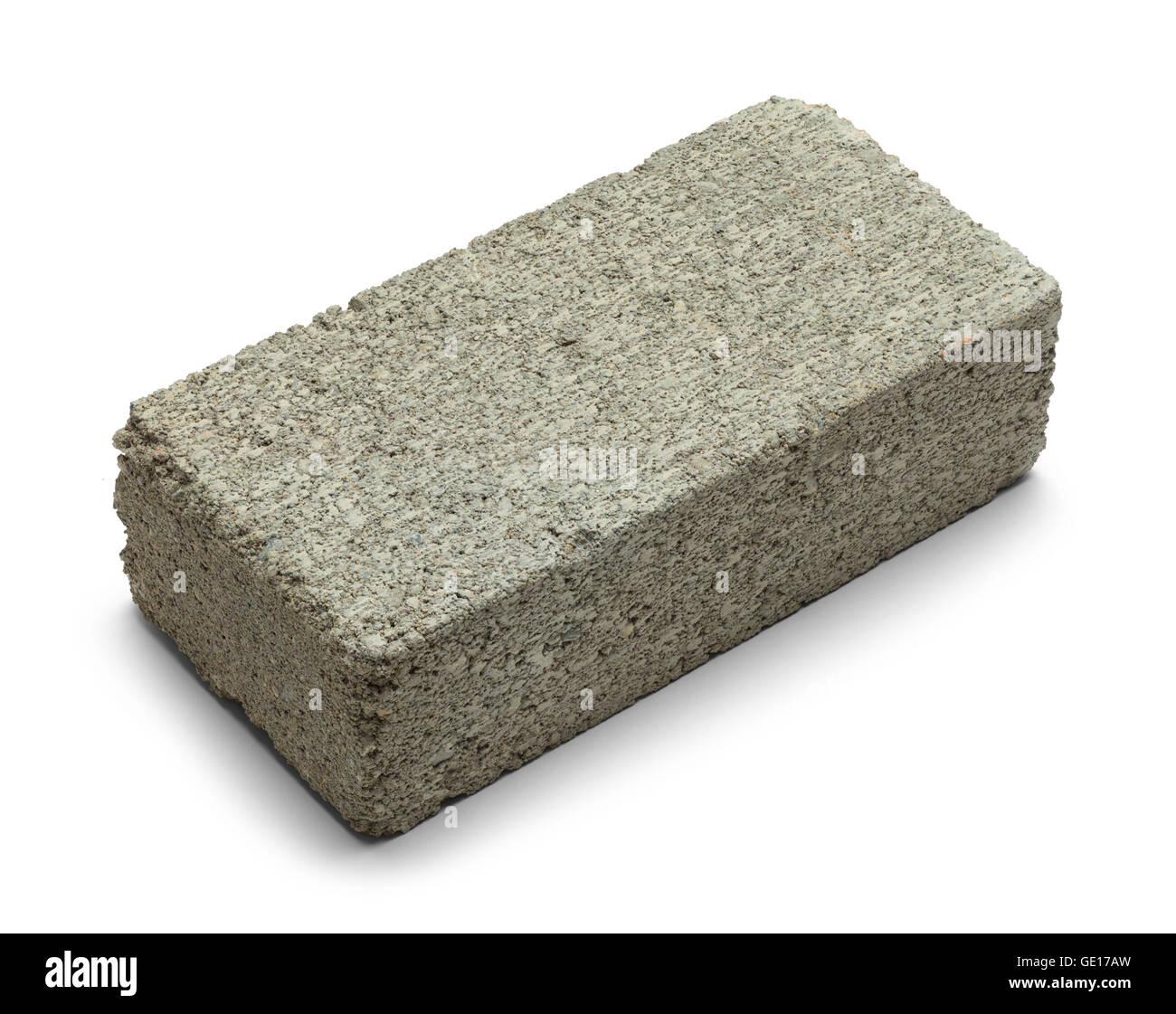 Unico cemento grigio mattone isolati su sfondo bianco. Immagini Stock