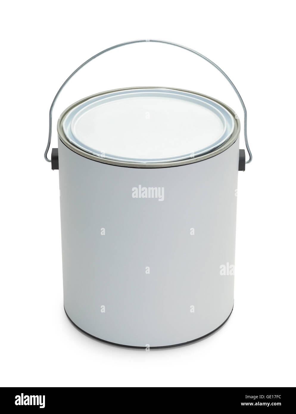 Un gallone secchio di vernice con copia spazio isolato su sfondo bianco. Immagini Stock