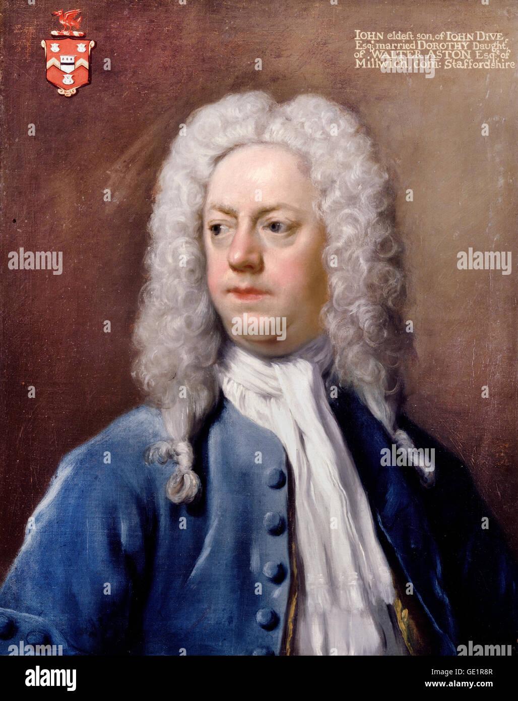Hans Hysing, John Dive. Circa 1730. Olio su tela. Dulwich Picture Gallery di Londra, Inghilterra. Immagini Stock
