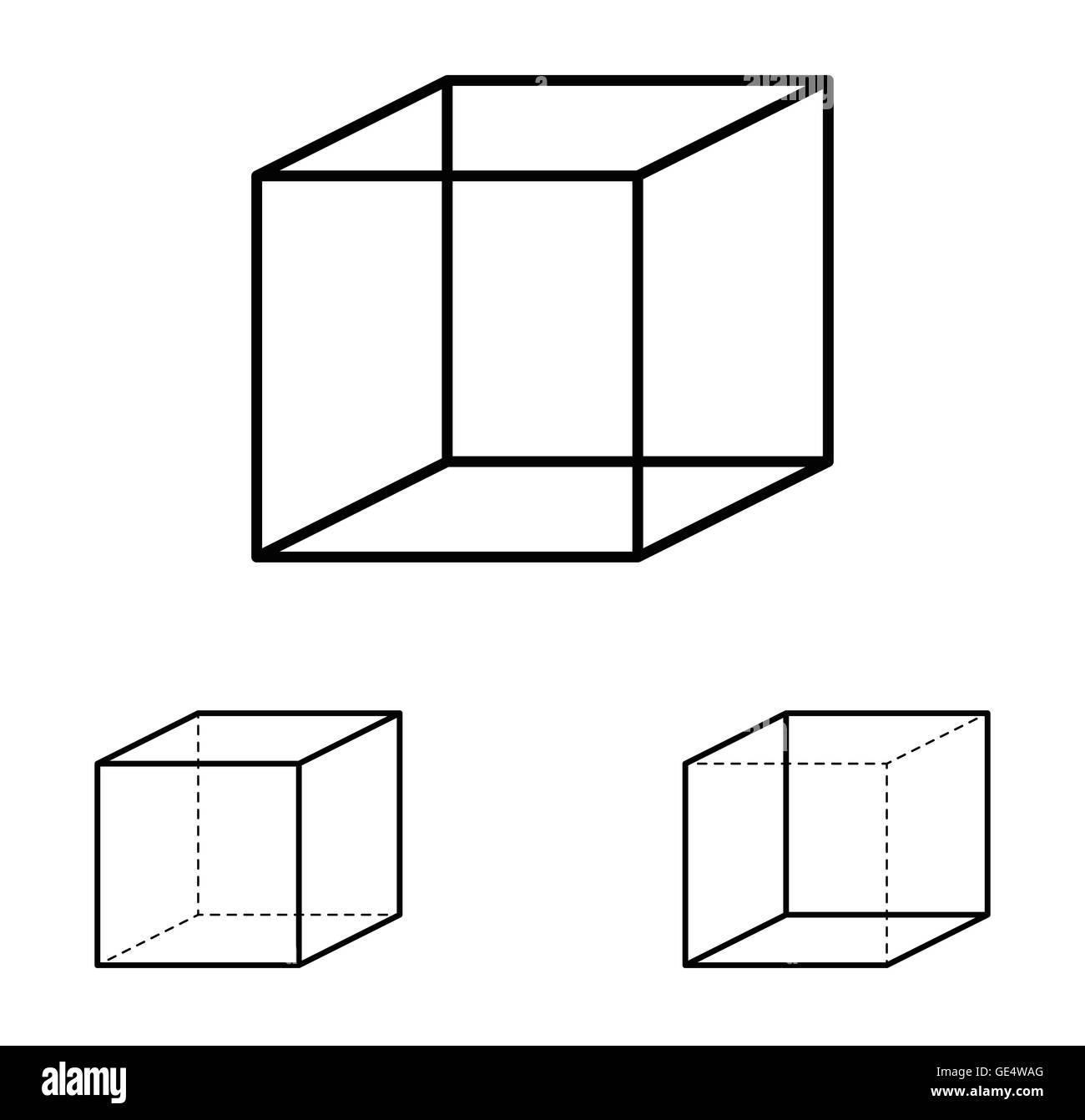 Necker Cube Illusione Ottica Linea Di Ambiguo Disegno La Maggior