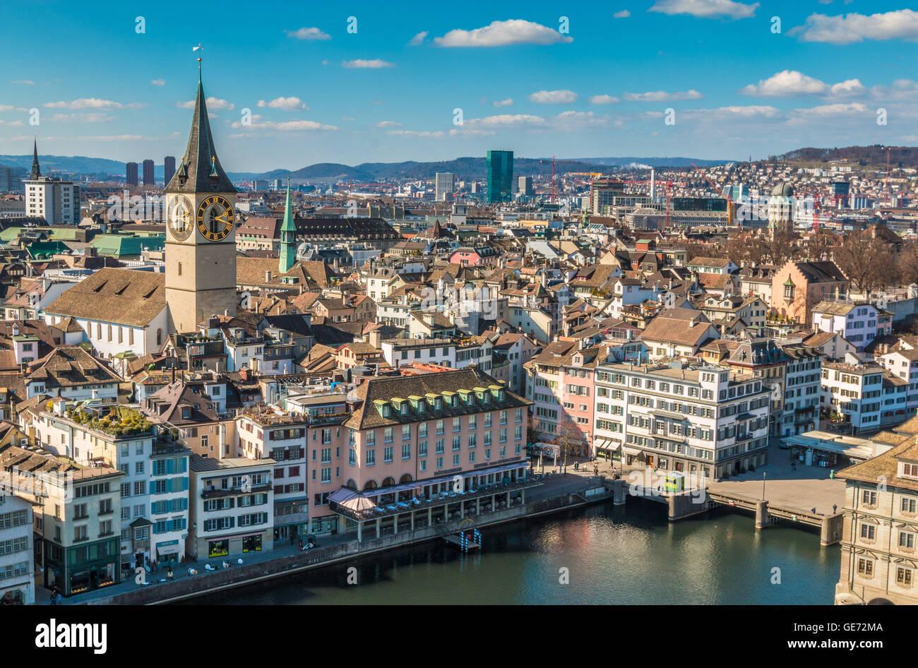 Piazza finanziaria svizzera città di Zurigo Immagini Stock