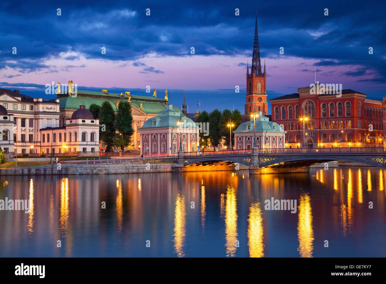 Stoccolma. immagine di Stoccolma in Svezia durante il blu crepuscolo ora. Immagini Stock
