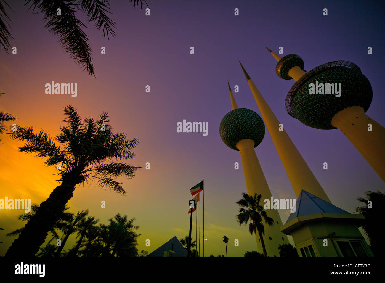 Kuwait Towers, Kuwait City in Kuwait. Immagini Stock