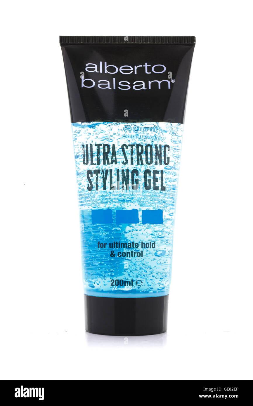 Alberto Balsamo Ultra Forte per lo styling dei capelli Gel su uno sfondo bianco Immagini Stock