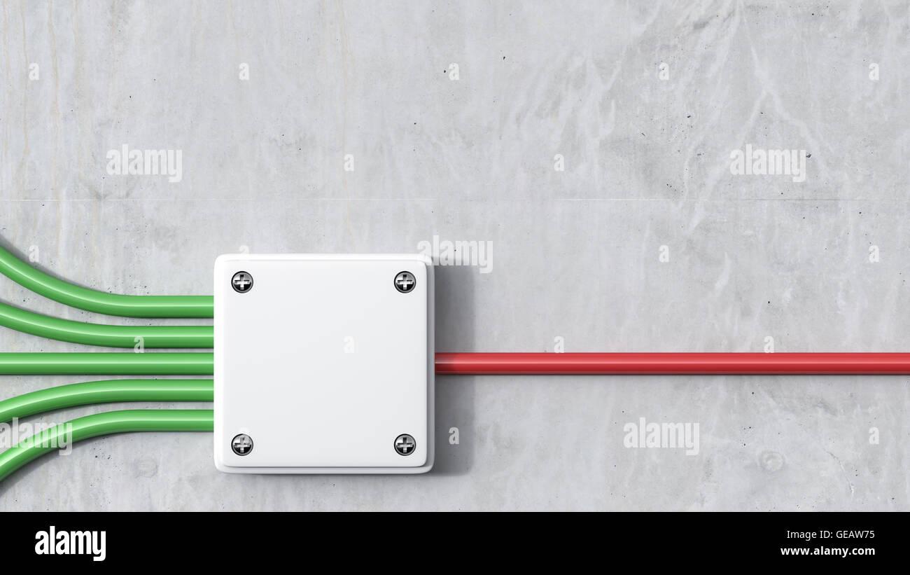 3D Rendering, energia, scheda di distribuzione, rosso, verde Immagini Stock