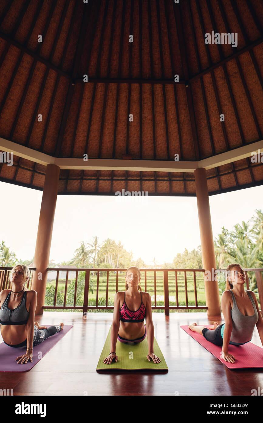 Colpo verticale del gruppo di tre belle giovani donne che lavorano nel club salute, facendo la postura del Cobra. Immagini Stock