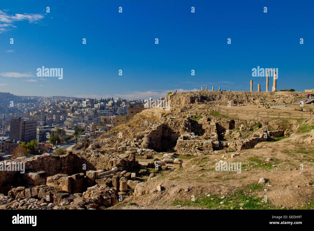 Tempio di Ercole in Amman Giordania Immagini Stock