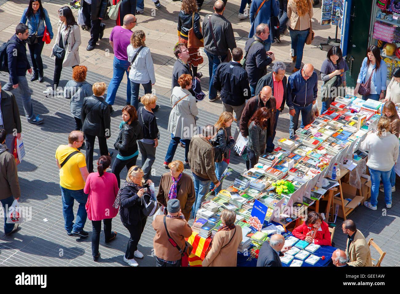 La Rambla,Sant Jordi's Day (23 aprile) ,Barcelona Catalonia,Spagna Immagini Stock
