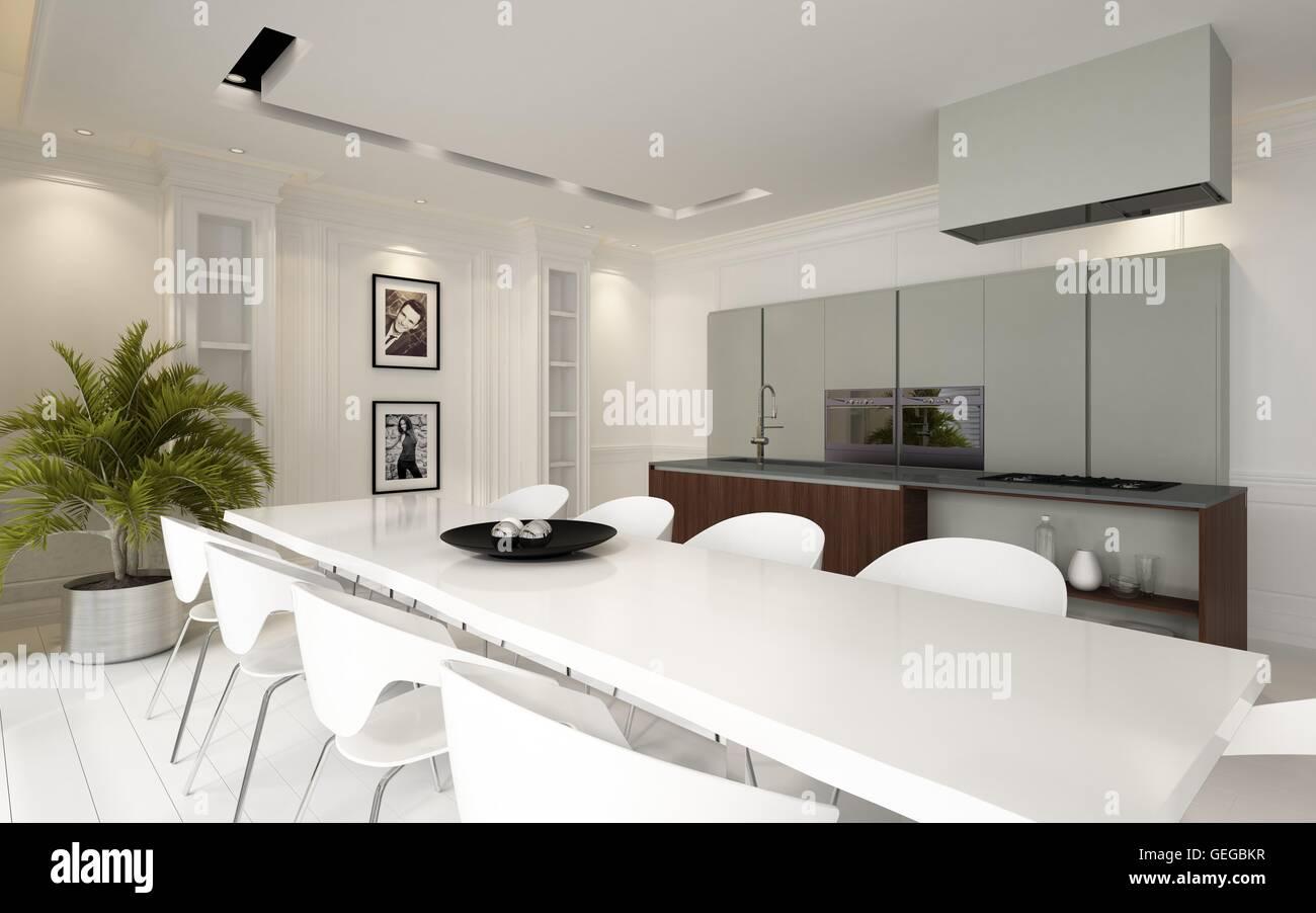 Soggiorno Pranzo Cucina : Il lusso moderno a pianta aperta sala da pranzo cucina soggiorno
