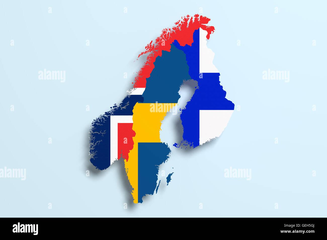 3d Rendering Della Penisola Scandinava Mappa E Bandiere Foto