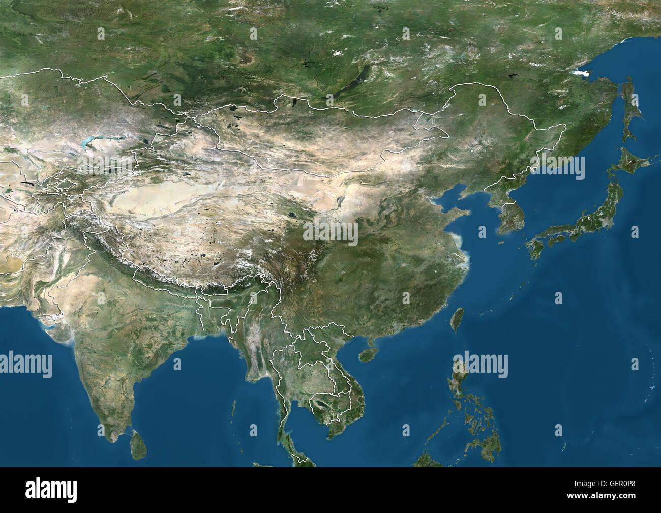 Vista satellitare dell Asia orientale e nel subcontinente indiano (con i confini del paese). Questa immagine è Immagini Stock