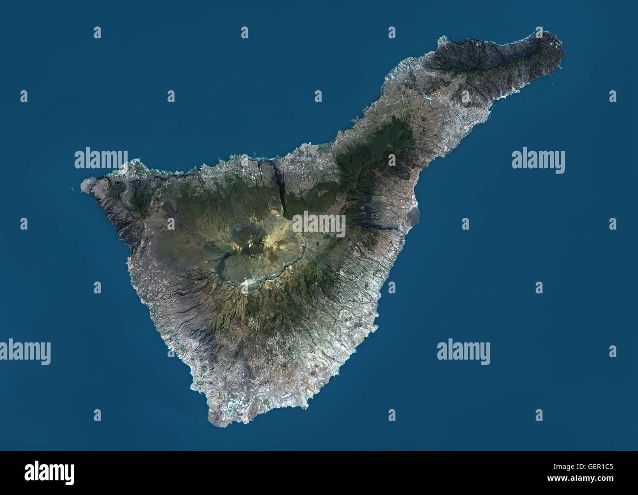 Spagna E Isole Canarie Cartina Geografica.Vista Satellitare Di Tenerife Isole Canarie Spagna E La Piu Grande E La Piu Popolata Isola Delle Sette Isole Canarie Vulcano Monte Teide Al Centro E Il Punto Piu Alto Di Spagna