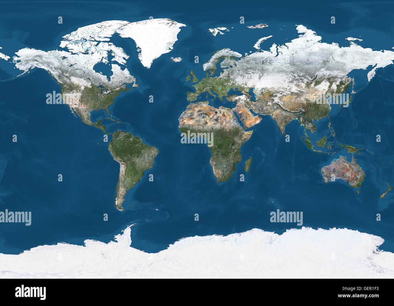 Cartina Satellitare Mondo.Mondo Mappa Satellitare In Inverno Con Parziale Copertura Di Neve Questa Immagine E Stata Elaborata Sulla Base Dei Dati Acquisiti Dal Satellite Landsat 7 8 Satelliti Foto Stock Alamy