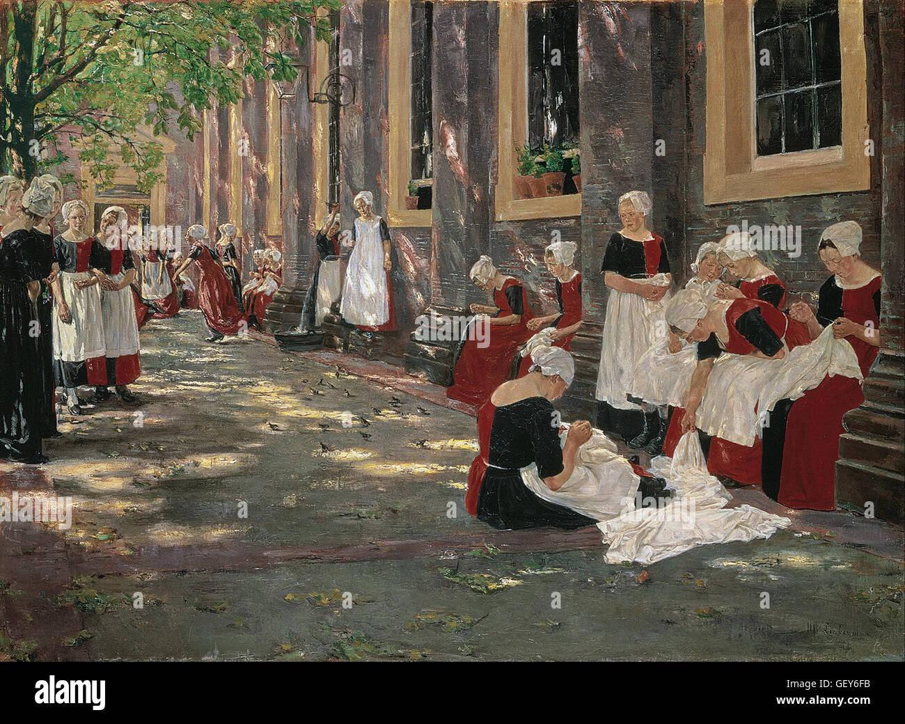 Max Liebermann - Periodo gratuito nell'orfanotrofio di Amsterdam Immagini Stock