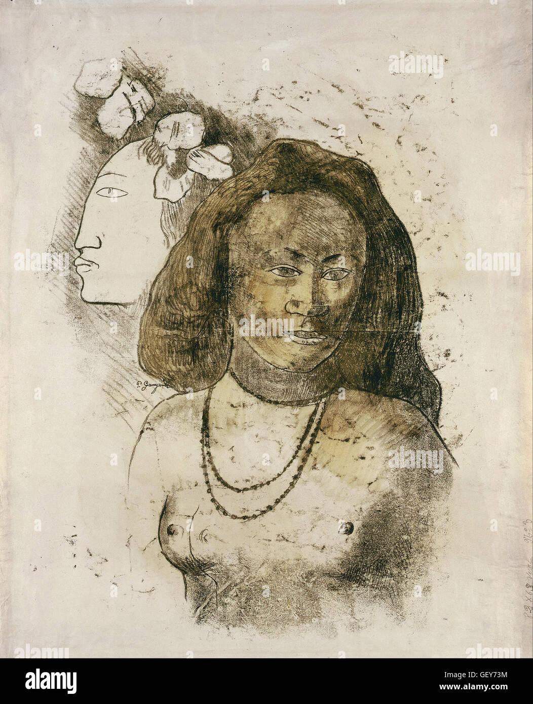 Paul Gauguin - donne tahitiane con spirito maligno Immagini Stock