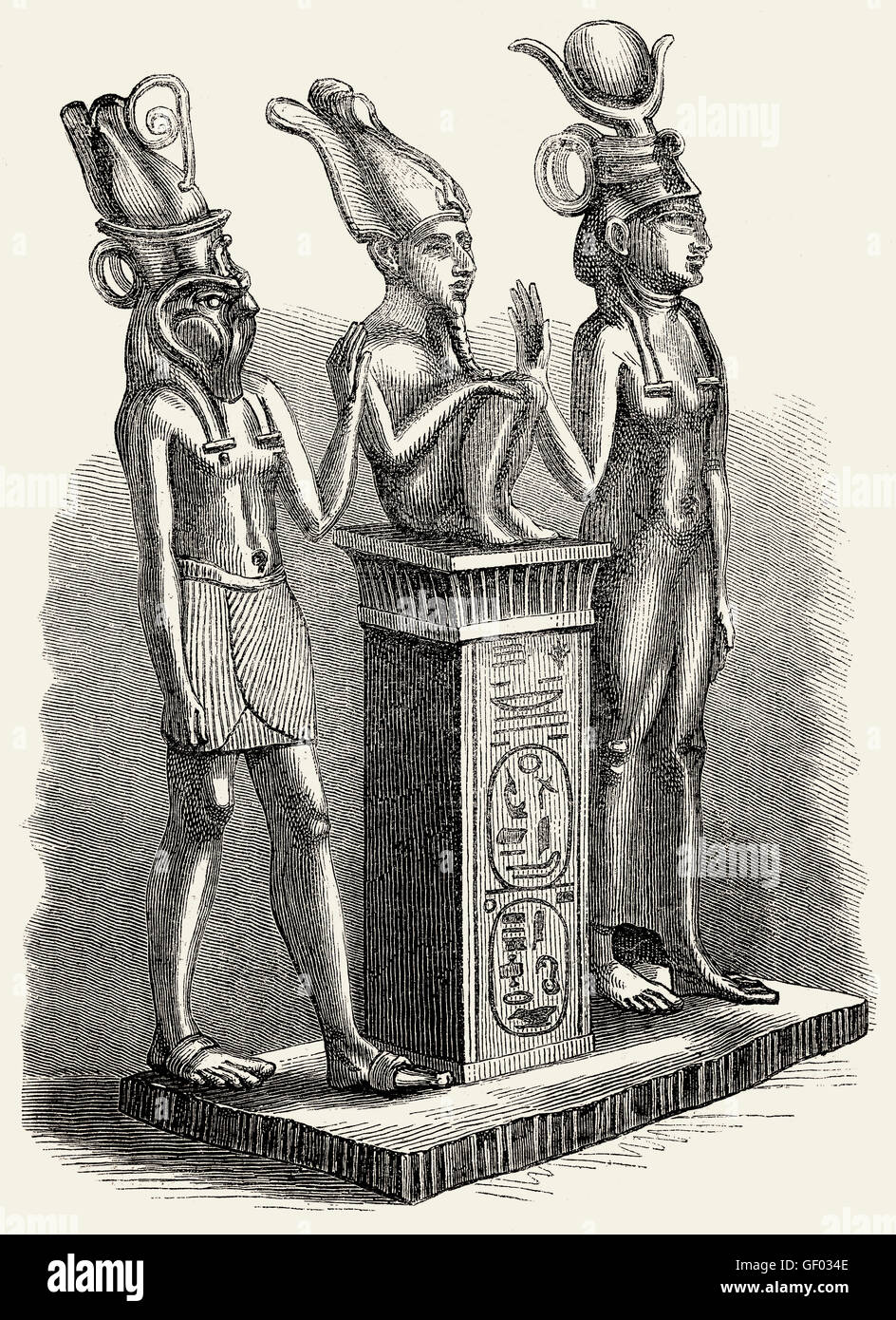 Antiche divinità egiziane, Iside, Osiride, Horus Immagini Stock