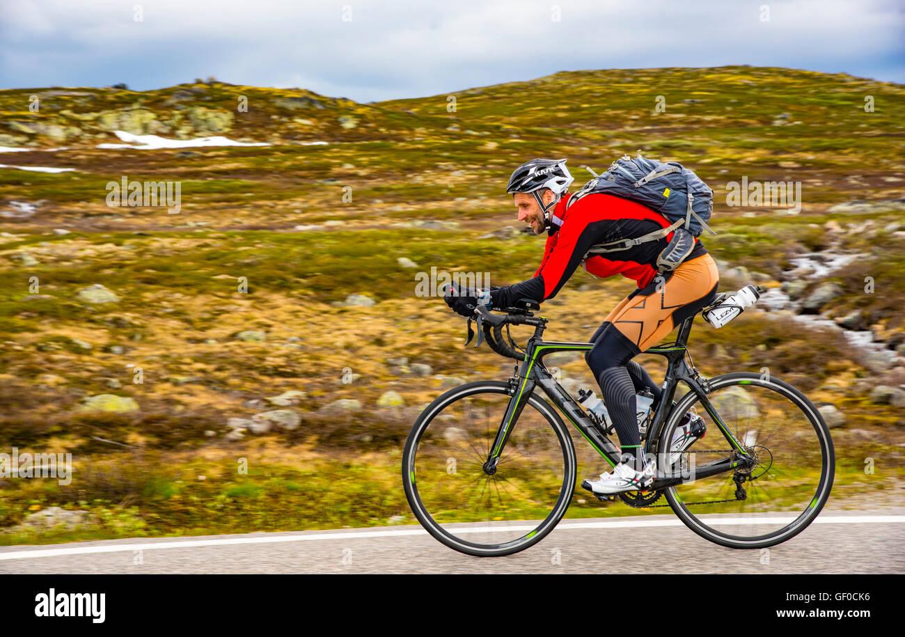 Strada ciclista pedala sulla Route 7, Parco Nazionale di Hardangervidda accanto al lago Orteren, Norvegia Hordaland, Immagini Stock