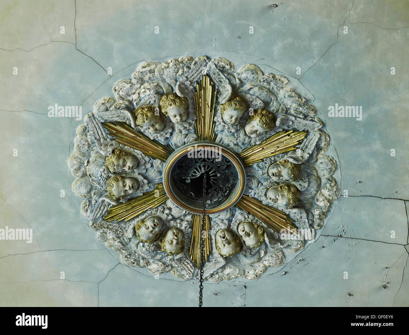 St Anne's Limehouse roundel soffitto; da Nicholas Hawksmoor 1714-27. Immagini Stock
