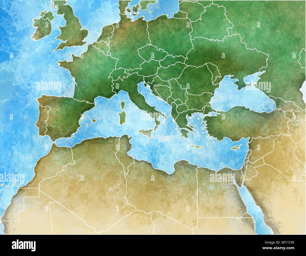 Mediterraneo Cartina Geografica.Disegnate A Mano Mappa Del Mediterraneo Europa Africa E Medio Oriente Foto Stock Alamy
