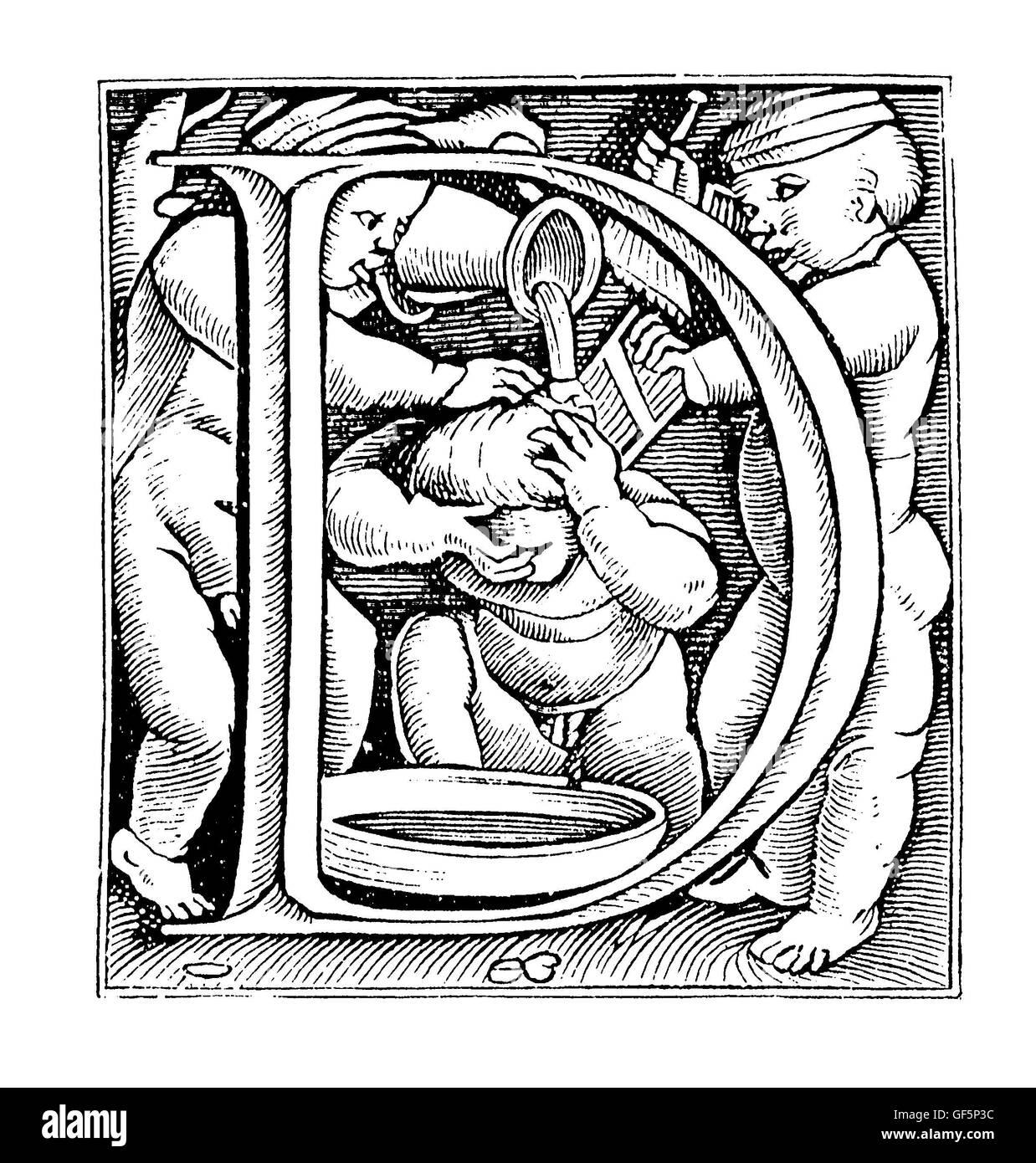 """Lettera oscillante D. 'Slavare"""" erano chiamati i grandi decorate le iniziali maiuscole usate in buona tipografia Immagini Stock"""