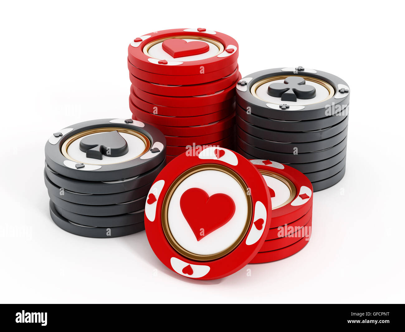 Casino chip con cuori, picche, diamanti e club forme. 3D'illustrazione. Foto Stock