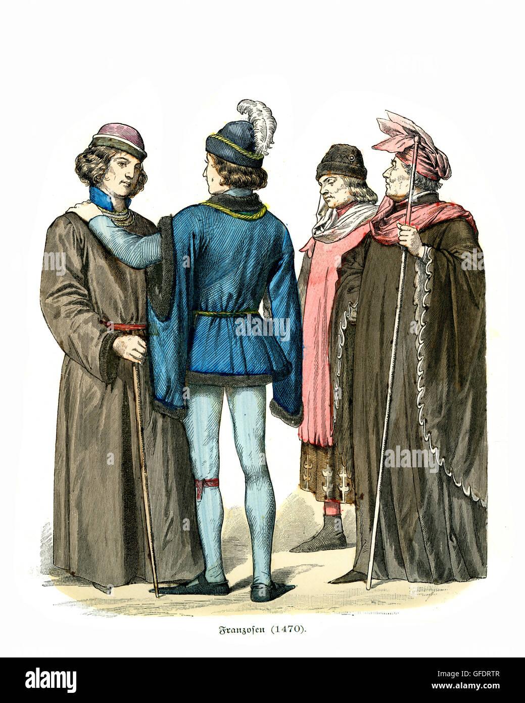 Mens moda della Francia medievale del XV secolo Immagini Stock