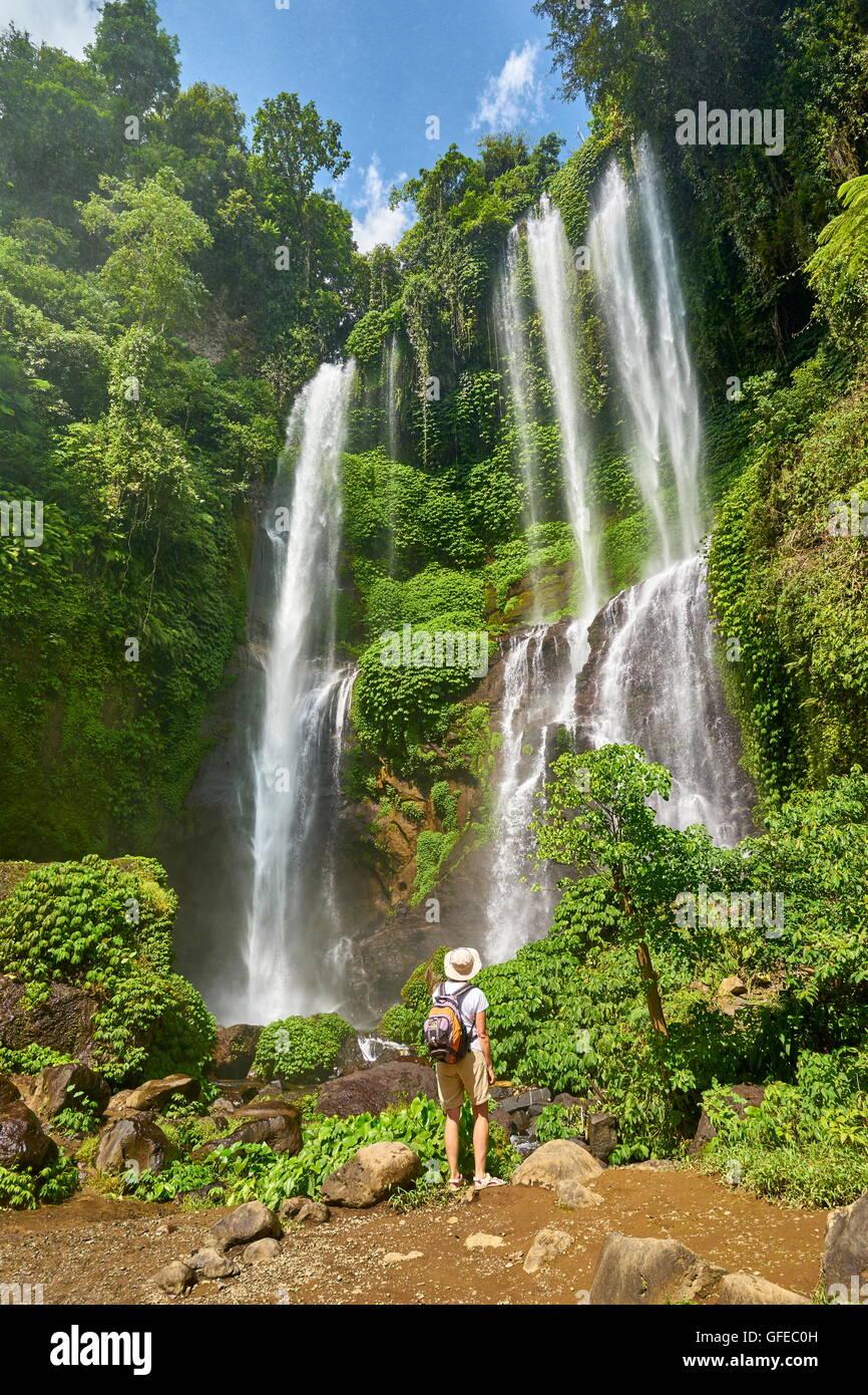 Cascata Sekumpul, Bali, Indonesia Immagini Stock
