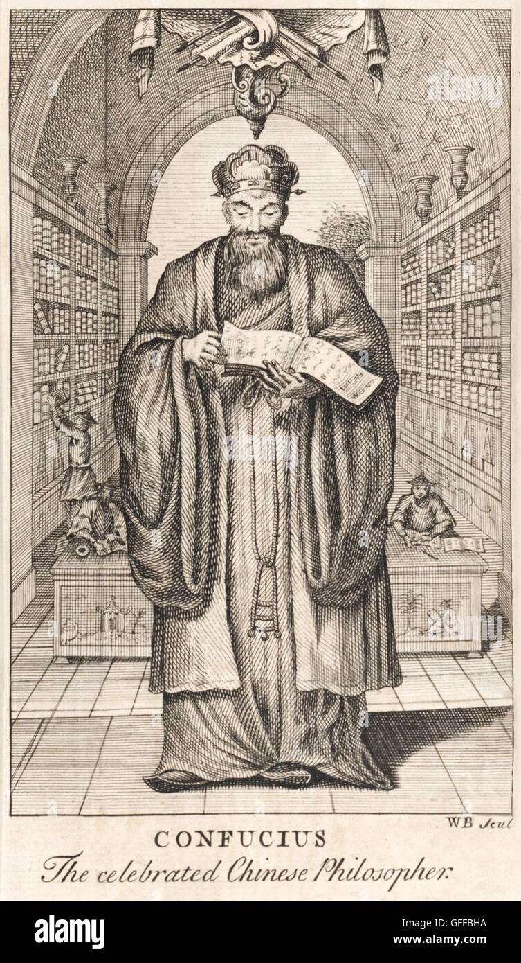 """Frontespizio che mostra """"Confucio il celebre filosofo cinese"""" tenendo premuto uno dei suoi Analects in Immagini Stock"""
