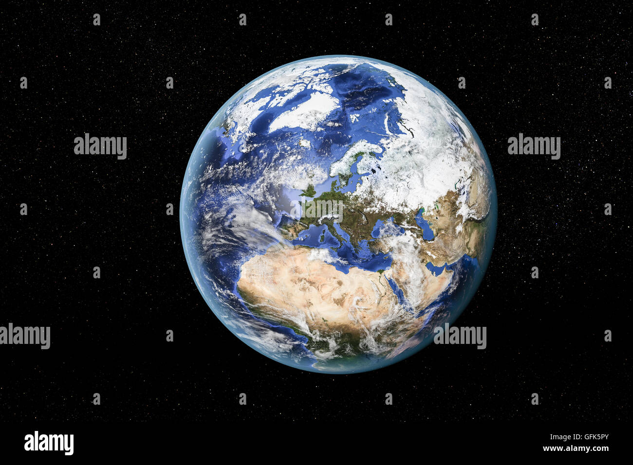 Vista dettagliata della Terra dallo spazio, mostrando il Nord Africa, Europa e Medio Oriente. Gli elementi di questa Immagini Stock