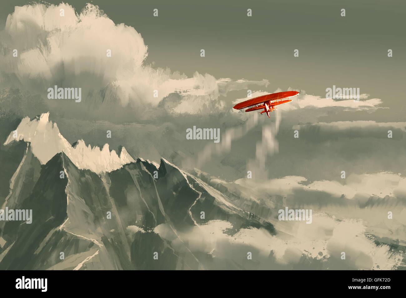 Biplano rosso volando sopra la montagna,immagine,pittura digitale Immagini Stock