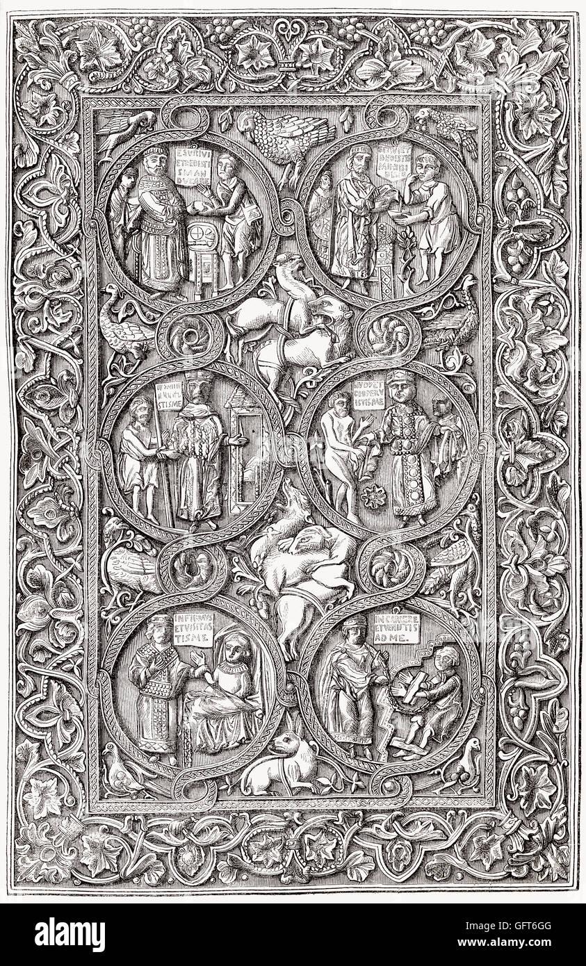 Ornata avorio copertina di un libro di ore, xi secolo Immagini Stock