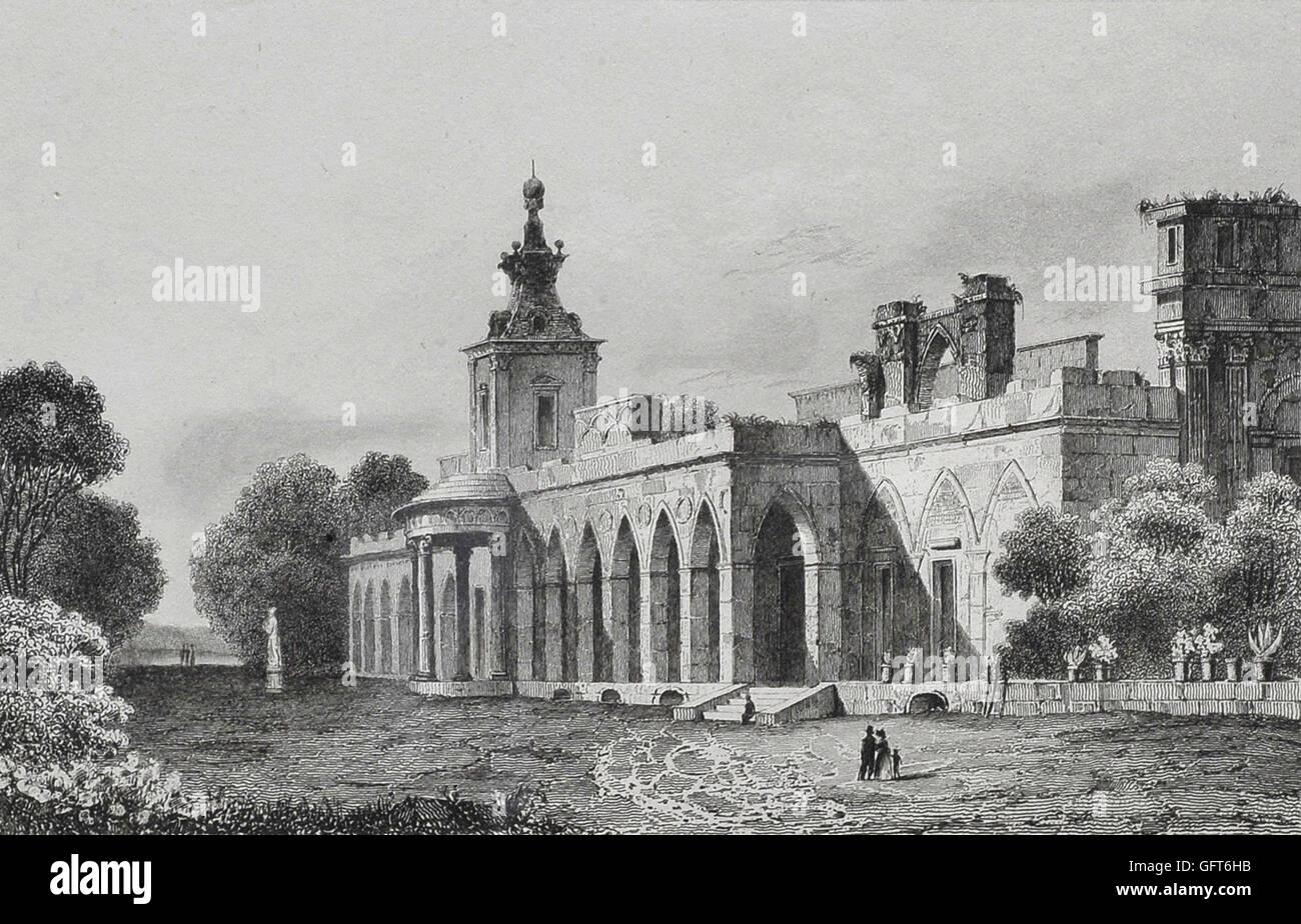 Augustin François Lemaitre ha - Vista della galleria gotica nel Wilanów Palace Immagini Stock