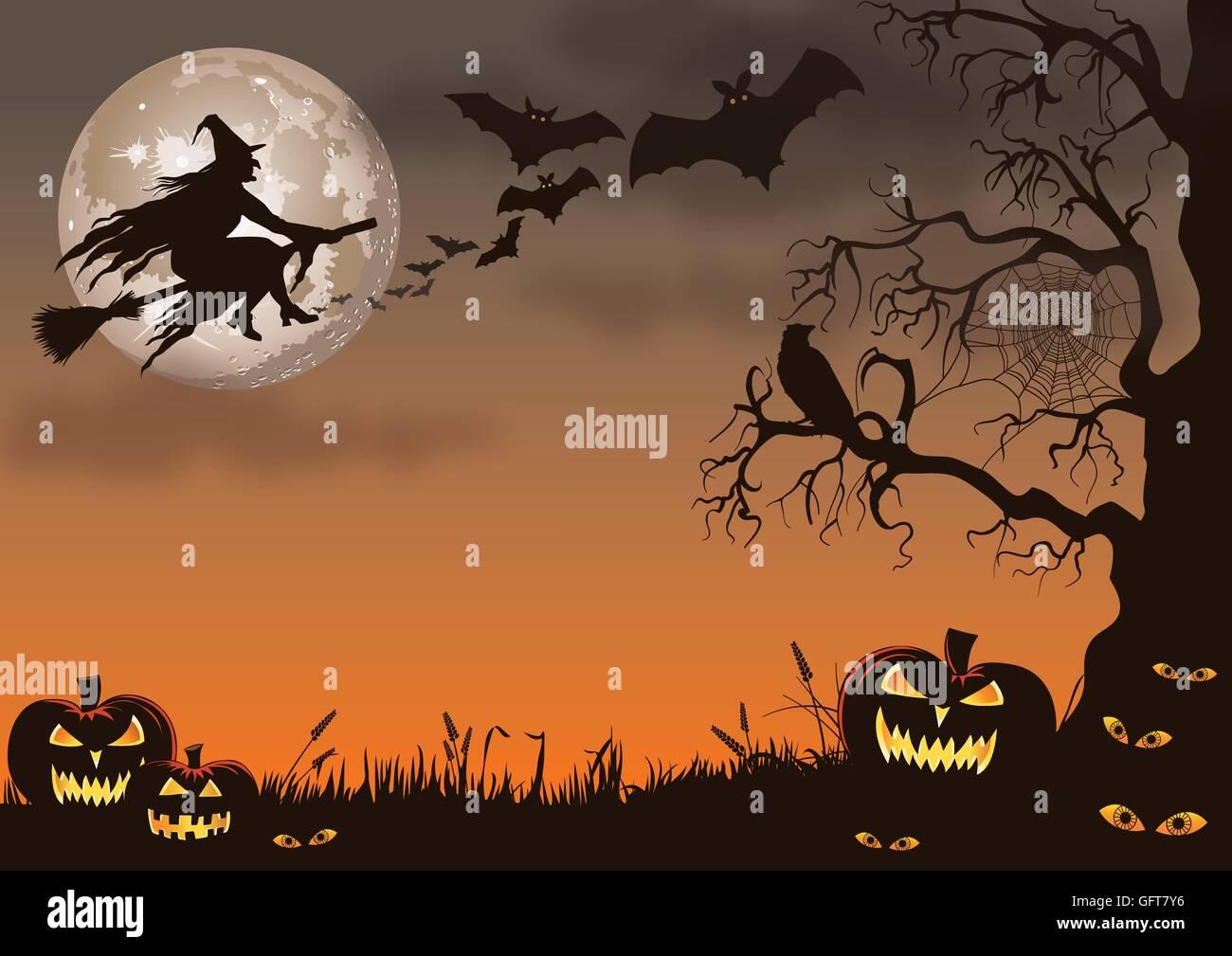 Sfondo di Halloween con una strega, pipistrelli, zucche, il peering di occhi e creepy tree. Immagini Stock