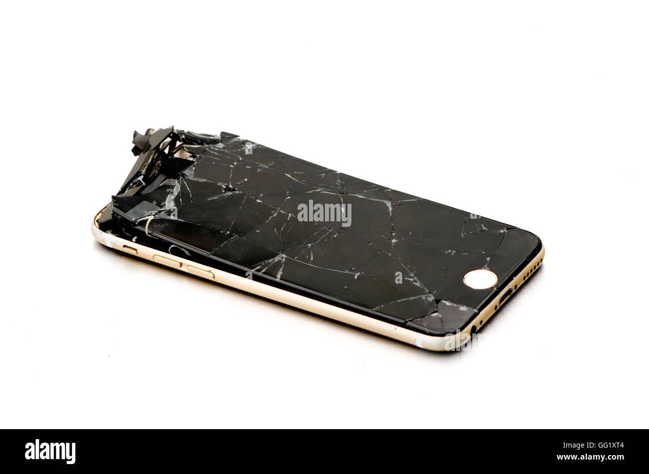 Lasciato cadere i-Phone 6 sul serio con schermo rotto! Immagini Stock