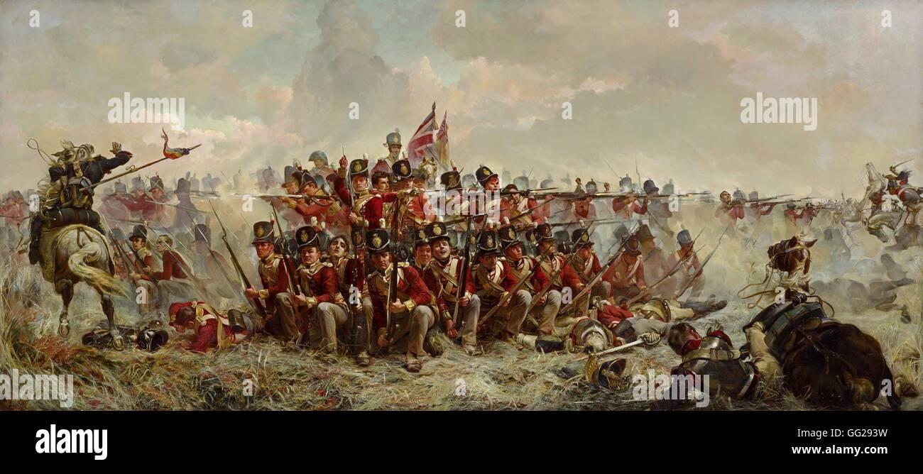 Elizabeth Thompson, Lady Butler Scuola di inglese il ventottesimo reggimento a QUATRE BRAS (Giugno 16th, 1815) 1875 Immagini Stock