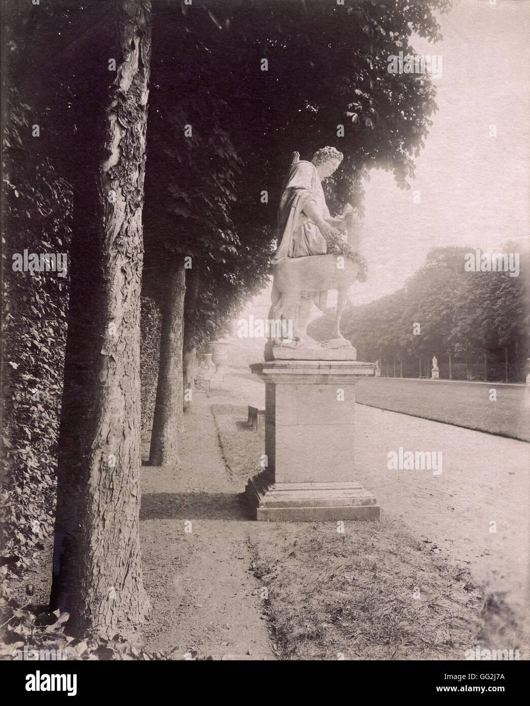 """Eugène Atget statua raffigurante la """"Berger Cyparisse' da Flamen. Si trova allée du Tapis Vert Immagini Stock"""