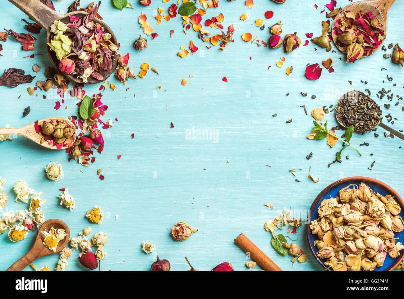 Diverse erbe per la produzione di tè sano: menta, cannella, rosa appassita in ciotola, camomilla fiori in cucchiai Immagini Stock