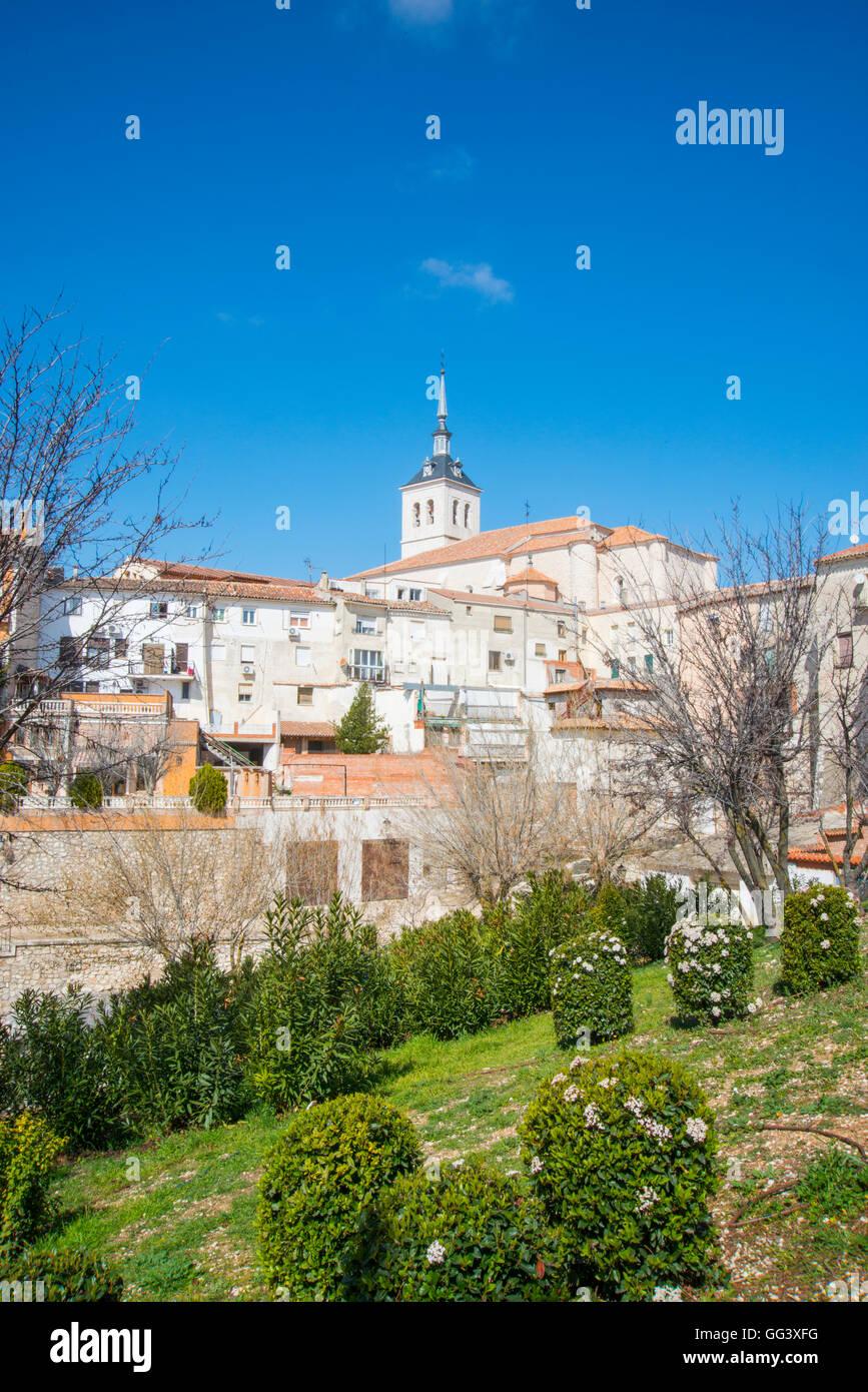 Vista del villaggio. A Colmenar de Oreja, provincia di Madrid, Spagna. Immagini Stock