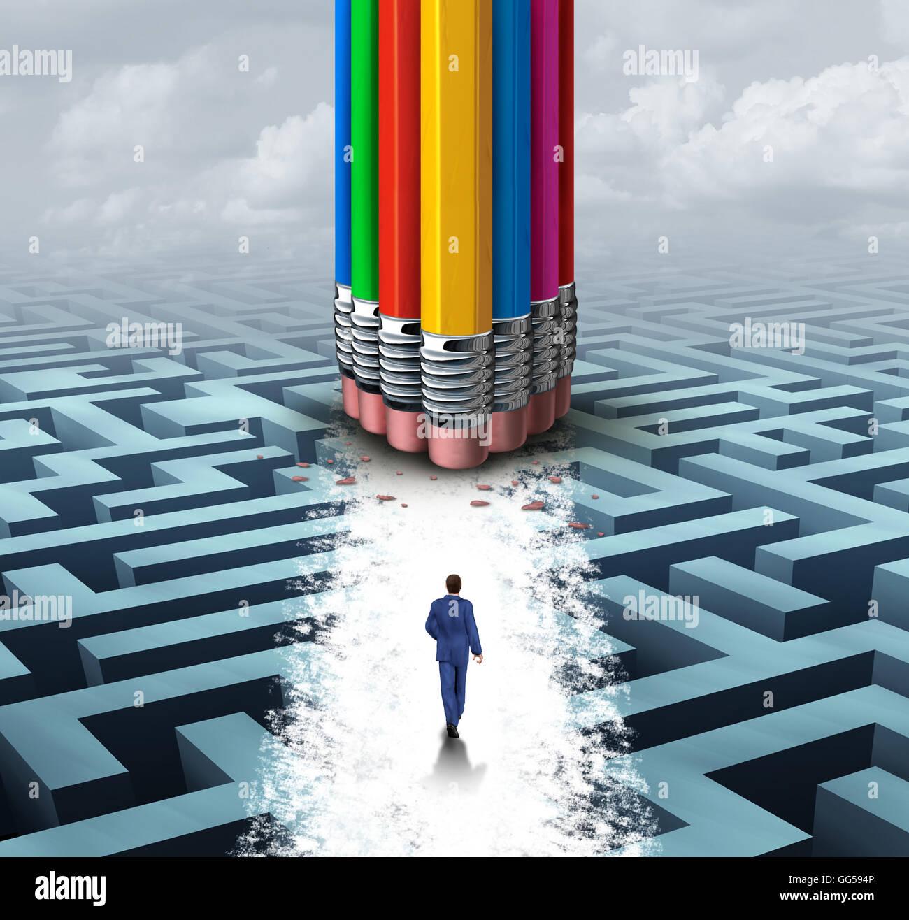 Innovare il concetto di gruppo come molte e differenti cancellatori matita cancellazione di un percorso su un labirinto Immagini Stock