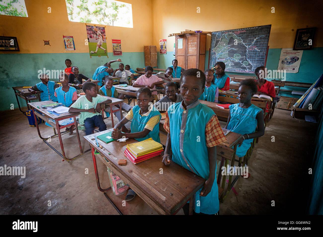 Scuola Afiniam bambini, Casamance, Senegal Immagini Stock